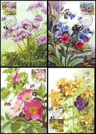 UKRAINE 2018. MEDICAL AND MELLIFEROUS PLANTS. BEEKEEPING. Set Of 4 Stamps Mi-Nr. 1700-03 MAXICARDS -CARTES MAXIMUM - Honeybees