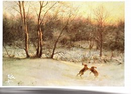 Rien Poortvliet Fighting Rabbits In Winter Time (73-19) - Dieren