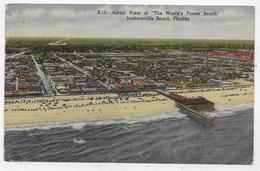 (RECTO / VERSO) JACKSONVILLE BEACH EN 1956 - AERIAL VIEW - B. 15 - LEGERS PLIS - BEAU TIMBRE -  FORMAT CPA VOYAGEE - Jacksonville