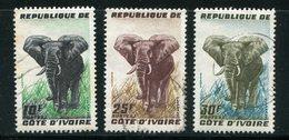COTE D'IVOIRE- Y&T N°177 à 179- Oblitérés (éléphants) - Côte D'Ivoire (1960-...)