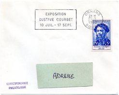 DOUBS - Dépt N° 25 = ORNANS 1962 = FLAMME CONCORDANTE N° 1171 = SECAP  'EXPOSITION GUSTAVE COURBET ' - Marcophilie (Lettres)