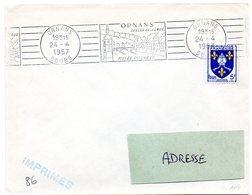 DOUBS - Dépt N° 25 = ORNANS 1957 = FLAMME RBV  ' Vallée De La Loue / Musée COURBET ' - Marcophilie (Lettres)
