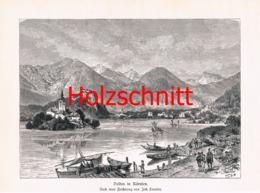 036 Smutny: Veldes See Burg Slowenien Großbild HS 1891!! - Historische Dokumente