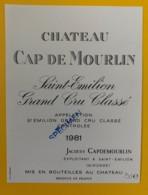 10334 - Château Cap De Mourlin 1981 Saint Emilion  Spécimen - Bordeaux