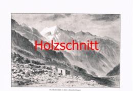 043 Heubner: Mandronhütte Alpenverein Adamello Großbild HS 1891!! - Historische Dokumente