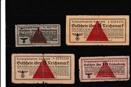 WW2 - LAGERGELD - 4 Billets De Camp De Prisonniers En Marks - Documents Historiques