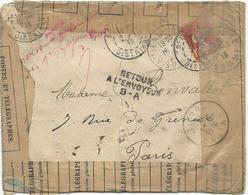 LETTRE 1914 AVEC TIMBRE AU TYPE SEMEUSE ET CACHET RETOUR A L'ENVOYEUR 9-A - Postmark Collection (Covers)