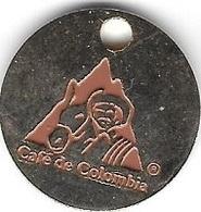 Jeton De Caddie  Argenté  Marque  Boisson  CAFE  DE  COLOMBIE  Avec  Homme  Et  Cheval - Jetons De Caddies
