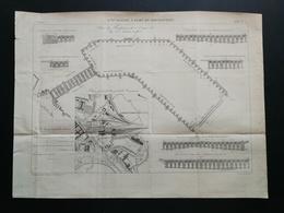 ANNALES DES PONTS Et CHAUSSEES (Dep 73) - Plan Du 3ème Bassin à Flot De ROCHEFORT - Gravé Par Macquet - 1895 (CLC40) - Nautical Charts