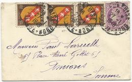 ENVELOPPE CARTE DE VISITE 1948 AVEC 4 TIMBRES TYPES  BLASON DE LORRAINE / MAZELIN - Postmark Collection (Covers)