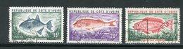 COTE D'IVOIRE- Y&T N°354 à 356- Oblitérés (poissons) - Côte D'Ivoire (1960-...)