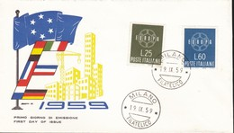 ITALIA BUSTA FDC EUROPA CEPT 1959 ROSSETTI - 6. 1946-.. Repubblica