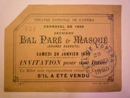 """GP 2019 - 928  BAL De L'OPERA  -  CARNAVAL De  1899  """"Bal Paré & Masqué""""  Invitation Pour Une DAME   XXXX - Toegangskaarten"""