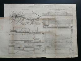 ANNALES DES PONTS Et CHAUSSEES (Dep 62) Plan De Construction Du Canal De Lens - Gravé Par Macquet - 1887 (CLC45) - Nautical Charts