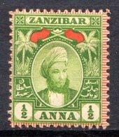 ZANZIBAR - (Protectorat Britannique) - 1898 - N° 43 - 1/2 A. Vert-jaune - (Sultan Seyyid Hamed Bin Thweini) - Zanzibar (...-1963)