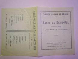 """GP 2019 - 932  VOUZON  (Loir-et-Cher)  :  PUB 2 Volets """"Comte De Saint-PAUL""""  Produits Spéciaux De Sologne  1935   XXXX - Advertising"""