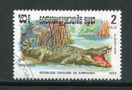 KAMPUCHEA- Y&T N°405- Oblitéré (crocodiles) - Reptiles & Batraciens