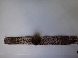 Ancien Cendrier D  Accoudoir De Fauteuil Cuir Et Laiton - Unclassified