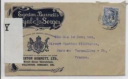 GB - 1916 -  ENVELOPPE ILLUSTREE PUBLICITAIRE De WELLINGTON SOMERSET Avec CENSURE => VERSAILLES - 1902-1951 (Rois)