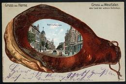 AK/CP Gruß Aus Herne Prägelitho  Schinken   Gel./circ.. 1912   Erhaltung /Cond.  2  Nr. 00753 - Herne