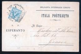 CARTOLINA INIZI 900 VIAGGIATA PER GENOVA A TEMA ESPERANTO - PRECURSORE - FORSE LA PRIMA IN ITALIA!!! - Esperanto