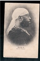 ETHIOPIE  Menelik II, Empereur D'Abyssinie. Published By Au Cafe De La Pais In Djibouti Ca 1910 OLD  POSTCARD - Ethiopië