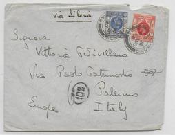 HONG KONG CHINA - 1930 - ENVELOPPE Via SIBERIA (avec TAXE ?) => PALERMO (ITALIE) - Hong Kong (...-1997)