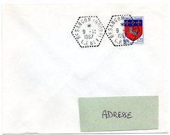 DOUBS - Dépt N° 25 = BESANÇON 1967 = CACHET Hexagonal Pointillé G7 / CIRCUIT POSTAL CP N° 1 - Bolli Manuali
