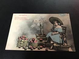 LES FRUITS Les Pommes - Fillette Coquine - 1905 Timbrée - Scènes & Paysages