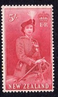 New Zealand 1953 QEII Definitives 5/- Carmine, MNH, SG 735 - New Zealand