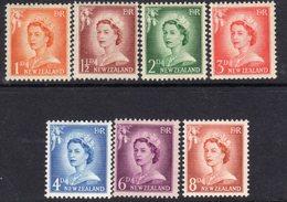 New Zealand 1955-9 Definitives Large Value Figures Set Of 7, Hinged Mint, SG 745/51 - New Zealand
