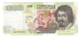 100000 Lire CARAVAGGIO 2° TIPO SERIE D 1997 Q.fds LOTTO 2450 - [ 2] 1946-… : Républic