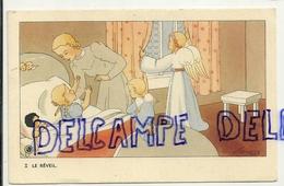 Le Réveil. Petite Fille, Maman, Anges, Poupée. Signée Gouppy. 1946 - Anges