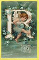 * Fantaisie - Fantasy * Angelot, Ange, Angel, Alphabet, Alfabet, Lettre R, Fleurs, Timbre, TOP, Unique, Carte Gauffrée - Anges