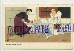 Une Bonne Action. Petite Fille, Vieille Dame, Anges. Signée Gouppy. 1946 - Anges