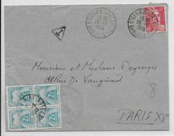 1946 - ENVELOPPE Du 1° BCP CHASSEUR PARACHUTISTE à ST GERMAIN EN LAYE Avec TAXE GERBES BLOC De 4 ! => PARIS - GANDON - Marcophilie (Lettres)