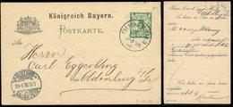 S7856 - Bayern GS Postkarte Mit Privat Zudruck: Gebraucht Fürth - Oldenburg 1898 , Bedarfserhaltung. - Bayern
