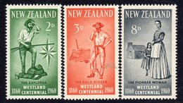 New Zealand 1960 Westland Province Centennial Set Of 3, Hinged Mint, SG 778/80 - Unused Stamps