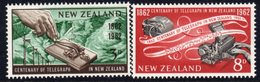 New Zealand 1962 Telegraph Centenary Set Of 2, Hinged Mint, SG 810/1 - Unused Stamps