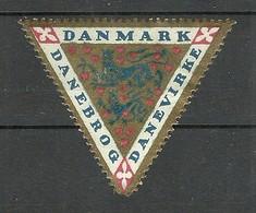 DENMARK Ca 1915 Flag Danebrog Poster Stamp Vignette Lions * - Dänemark