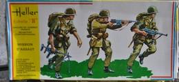 Rare Boite Années 70 Au 1/35 Mission D'assault  Moderne Français  De Marque Heller - Figurines