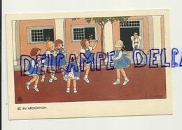 La Récréation. Petites Filles, Colin Maillard, Anges. Signée Gouppy. 1946 - Anges