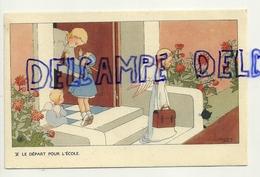 Le Départ Pour L'école. Petite Fille, Maman, Anges. Signée Gouppy. 1946 - Anges