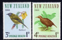 New Zealand 1966 Health Stamps Birds Set Of 2, Hinged Mint, SG 839/40 - Unused Stamps