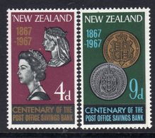 New Zealand 1967 PO Savings Bank Centenary Set Of 2, MNH, SG 843/4 - Unused Stamps
