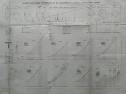 ANNALES DES PONTS Et CHAUSSEES - Plan D'une Lumière électrique Accumulateurs - Graveur E.Pérot - 1883 (CLC68) - Technical Plans