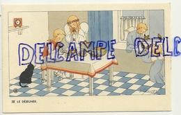 LE Déjeuner. Petite Fille, Anges, Chat. Signée Gouppy. 1946 - Anges