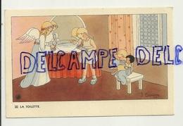 La Toilette. Petite Fille, Anges, Poupée. Signée Gouppy. 1946 - Anges