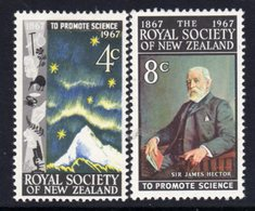 New Zealand 1967 Centenary Of Royal Society Set Of 2, MNH, SG 881/2 - Unused Stamps