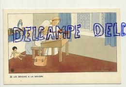 LEs Devoirs à La Maison. Petite Fille, Anges, Pupitre, Poupée. Signée Gouppy. 1946 - Anges